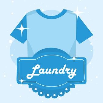 파란색 배경에 세탁 티셔츠