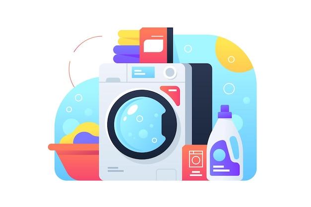 분말 및 청소 제품이있는 세탁기를 사용하여 세탁합니다. 거품을 사용 하여 깨끗 한 현대 옷의 고립 된 아이콘 개념.