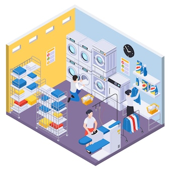 Laundry washing isometric composition with indoor view of room with washing machines skirt boards and workers