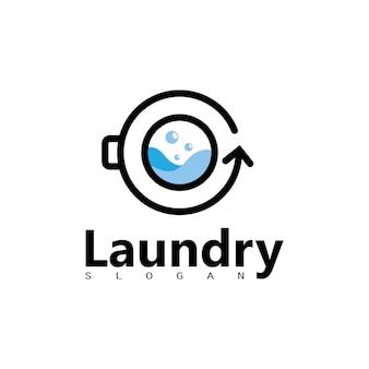 あなたの洗濯ビジネスアイコンのための円で洗濯機のロゴ