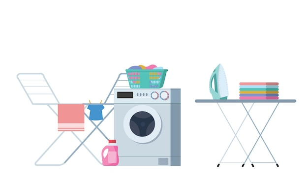 Laundry washing room modern colorful vector illustration.