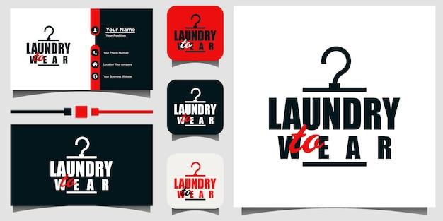 ランドリーウェアのロゴデザインベクトルテンプレート名刺の背景