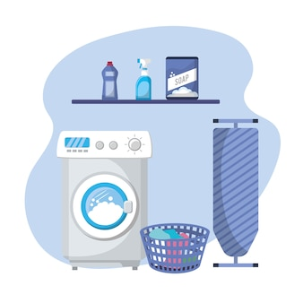 Laundry with electrical equipment and domestic job