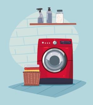 빨간 기계 장면이 있는 세탁