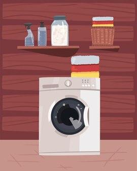 흰색 기계 장면이 있는 세탁