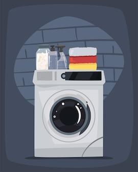 흰색 세탁기가 있는 세탁