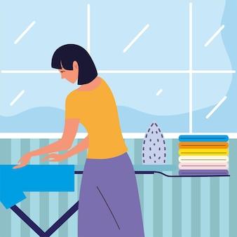 鉄と洗濯の女性