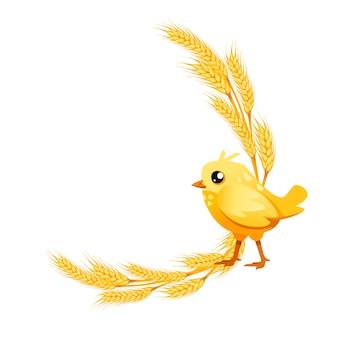 白い背景の上の幸せな小さなひよこの漫画のキャラクターデザインフラットベクトルイラストと黄金の小麦の月桂樹。