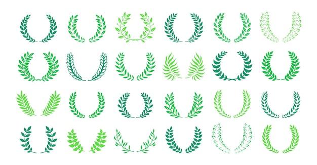 月桂樹の花輪賞または紋章グリーンセット。円形の月桂樹の葉状の花輪賞、業績。高品質のシンボルエンブレムブランチオリーブ植物コレクション。ロゴ貴族エンブレムベクトルイラスト