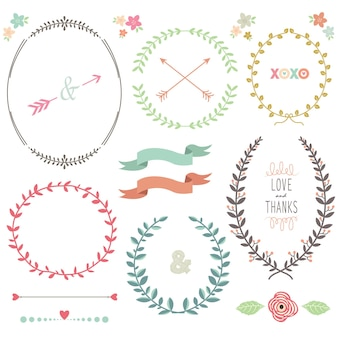 Laurel wreath design collection set