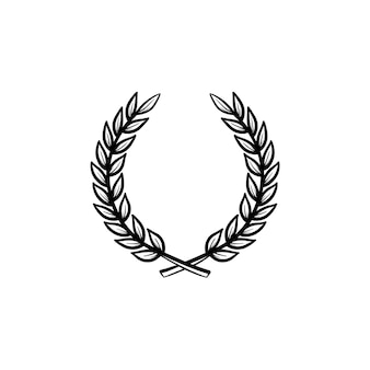 Laurel wreath hand drawn outline doodle icon. college emblem - laurel wreath vector sketch illustration for print, web, mobile and infographics isolated on white background.