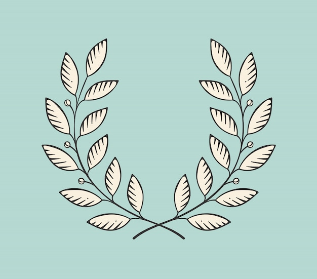 Laurel wreath icon isolated on a turquoise background