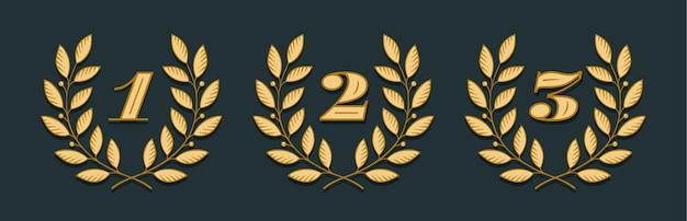 Значок лаврового венка с цифрами 1, 2, 3, изолированные на желтом фоне. рисованный дизайн one, two, three и элемент для турнира, конкурса, победителя, приза и награждения.