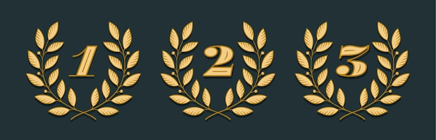 Laurel wreath icon with number 1, 2, 3 isolated on a yellow background. hand drawn design one, two, three and element for tournament, competition, winner, prize and awarding.