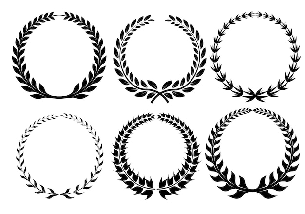 Laurel wreath set icons vector.