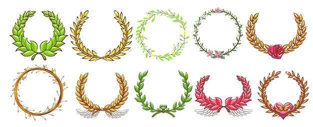 Laurel wreath vector set graphic design
