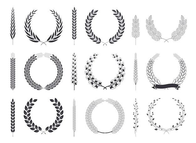 ローレルの花輪と枝ベクトルコレクション