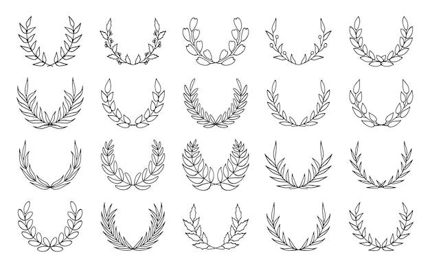 月桂樹の花輪の黒い輪郭のアイコンを設定します。達成の線形ロゴ、紋章