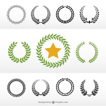 Laurel wreaths in green and black
