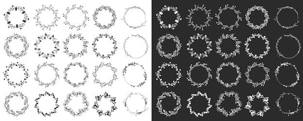 月桂樹と花輪。デザイン要素セット
