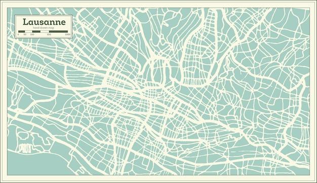 복고 스타일 로잔 스위스 도시 지도입니다. 개요 지도. 벡터 일러스트 레이 션.