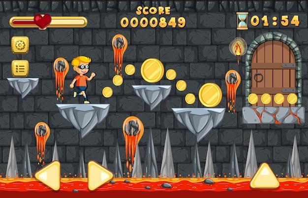 溶岩洞窟プラットフォーマーゲームテンプレート