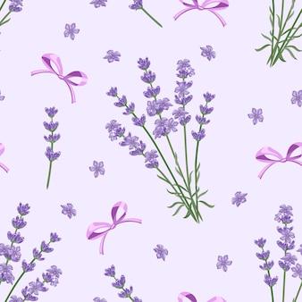 紫色の背景のシームレスなパターンにラベンダーと弓。