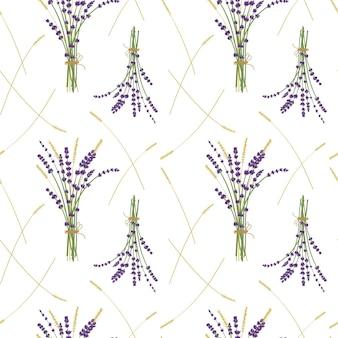 ラベンダーの花束と小麦のパターン、白い背景