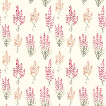 Lavender bouquet seamless pattern