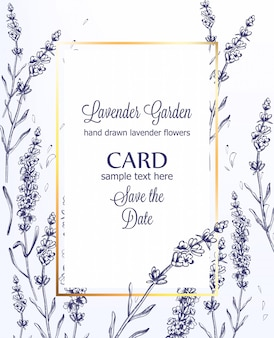 Lavender card vintage line art summer wedding ceremony invitation template