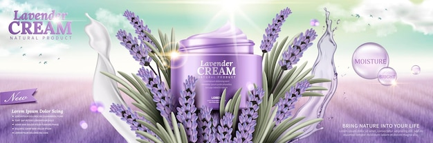 Lavender cream with flowers and splashing liquids leaves