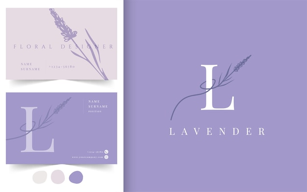 Lavender flower logotype. business card design template. emblem for flower shop, flower designer, fashion, beauty industry.
