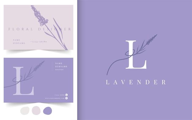 ラベンダーの花のロゴタイプ。名刺デザインテンプレート。フラワーショップ、フラワーデザイナー、ファッション、美容業界のエンブレム。