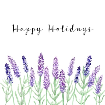 Lavender happy holidays card