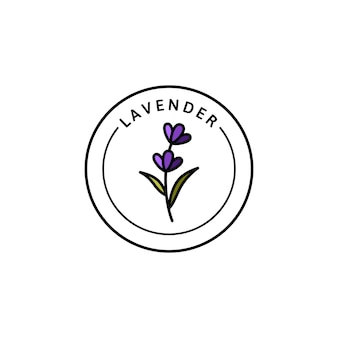 Lavender logo lavender in trendy linear style. vector herbal organic lavender icon of packaging design template and emblem. can be used for oil, soap, cream, perfume, tea and other things