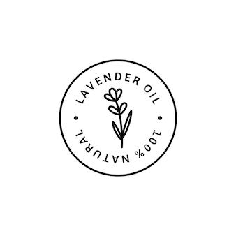 최신 유행 선형 스타일의 라벤더 오일 아이콘입니다. 포장 디자인 서식 파일 및 상징의 벡터 허브 유기농 라벤더 배지. 흰색 배경에 고립. 차, 화장품, 의약품에 사용할 수 있습니다.