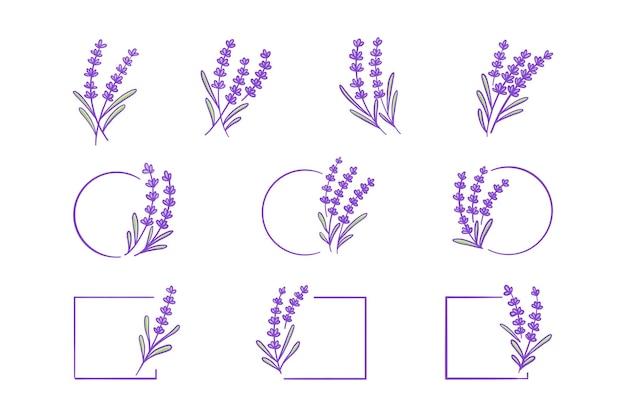ラベンダー植物手描きイラストセット