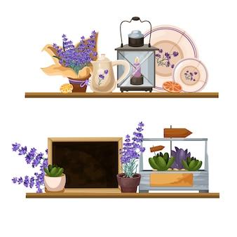 Lavender provance style decor compositions