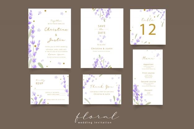 Lavender watercolor wedding invitation