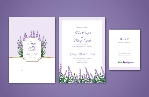 Lavender watercolor wedding invitation