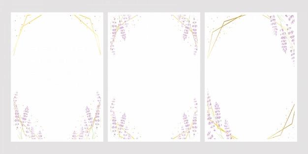 結婚式の招待カードテンプレートのゴールデンフレームとラベンダー水彩