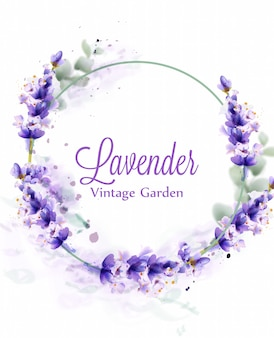 Lavender watercolor wreath