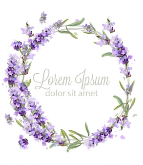 Lavender wreath card watercolor