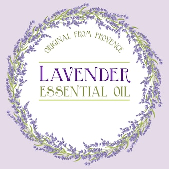 Lavender wreath label essential oil
