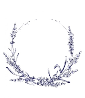 Lavender wreath vintage line art