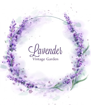 Lavender wreath watercolor splash