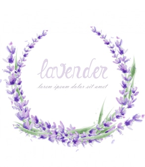 Lavender wreath in watercolor