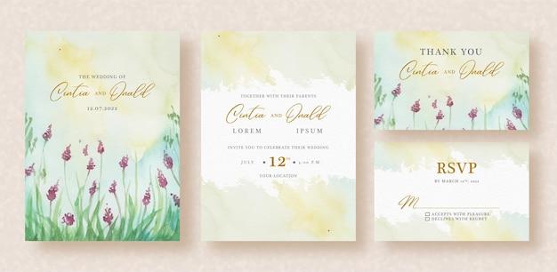 結婚式の招待状に水彩画のラベンダー