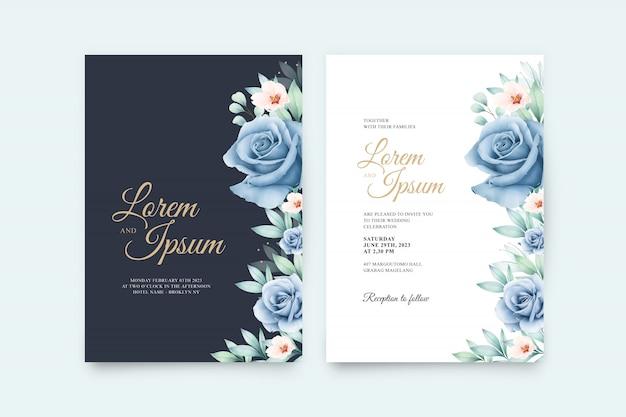Свадебная открытка с красивыми цветами и акварелью laves