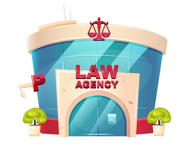 Law agency cartoon  illustration. notary glass building  color object. legal services department exterior. prosecution court entrance. modern storefront isolated on white background